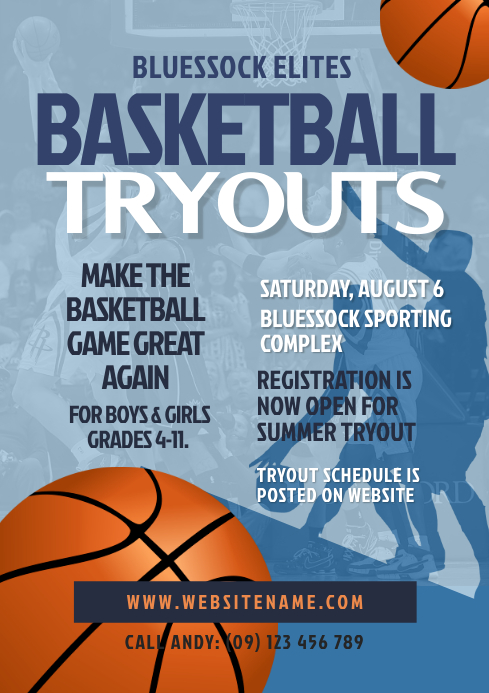Basketball Tryouts Flyer Template A4