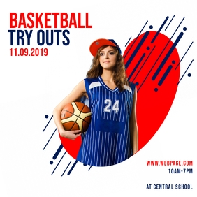Basketball Tryouts instagram post template