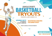 Basketball Tryouts Postcard Postkarte template