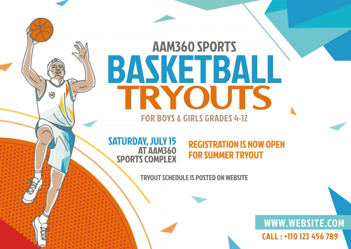 Basketball Tryouts Postcard template
