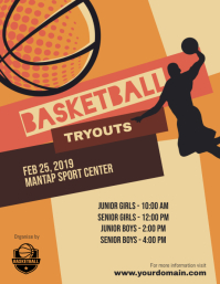 Basketball Tryouts Poster Flyer Template
