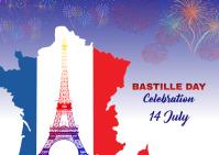 bastille celebration Postcart Postcard template