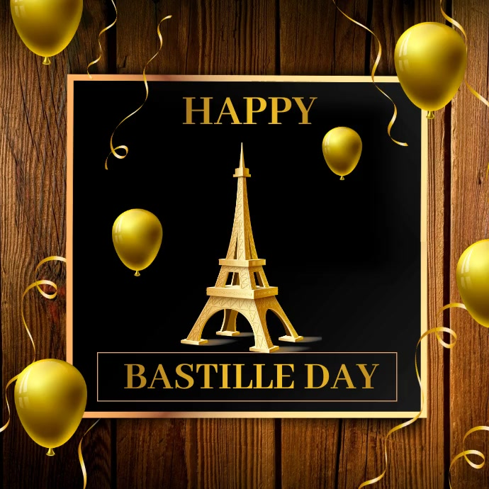 Bastille day, Eiffel tower fire works Square (1:1) template