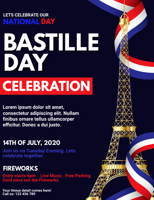 bastille day, happy bastille day Folder (US Letter) template