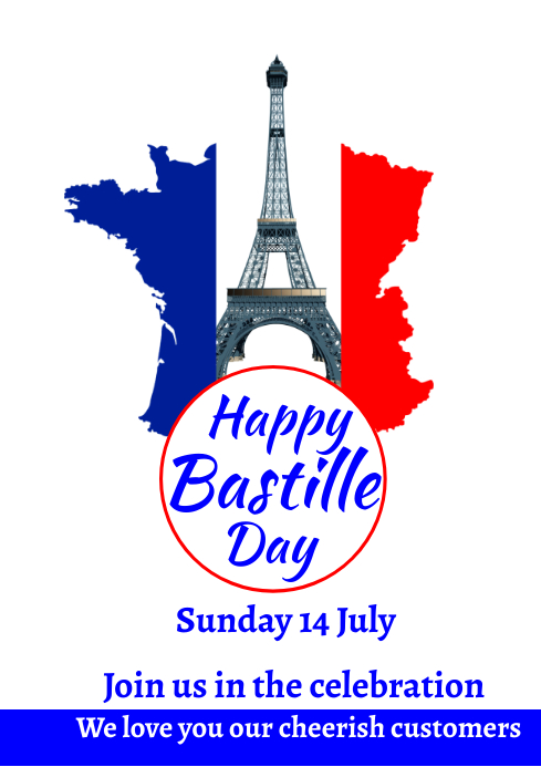 Bastille Day 14th July 10 A2 template
