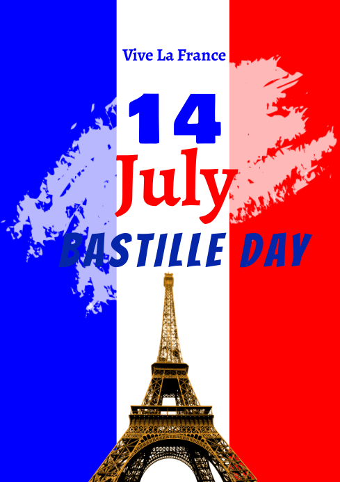 Bastille Day 14th July 3 A2 template