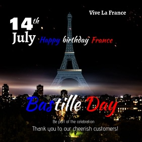 Bastille Day 14th July Instagram-opslag template