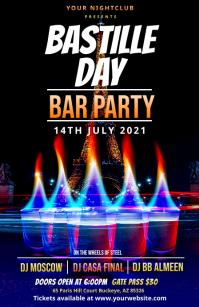 Bastille Day bar Party Flyer Template Tabloid