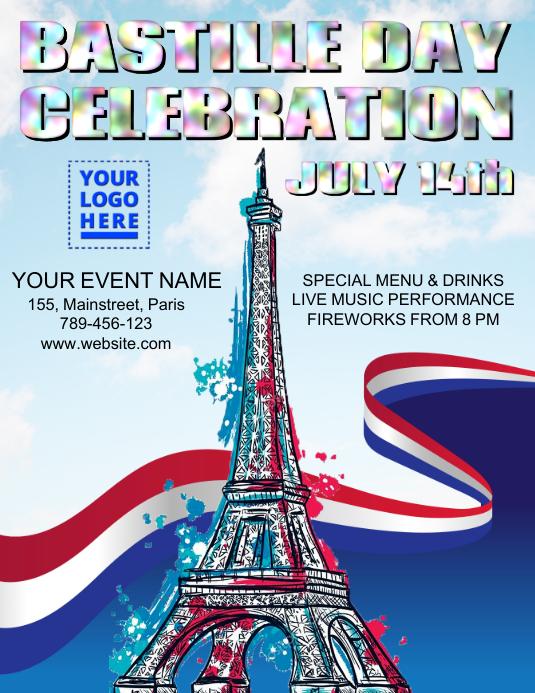 Bastille Day Celebration Flyer (US Letter) template