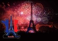 Bastille Day Postcard template