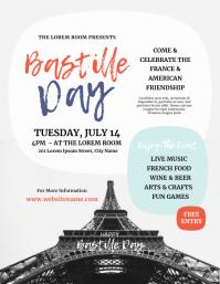 Bastille Day Event Flyer Folheto (US Letter) template
