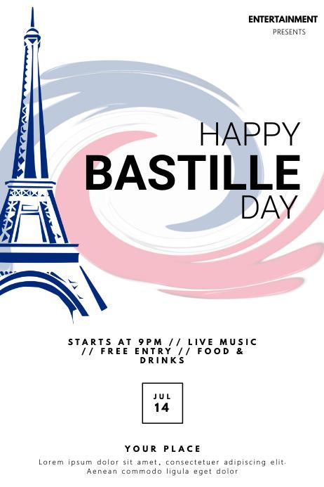Bastille Day event flyer template Poster