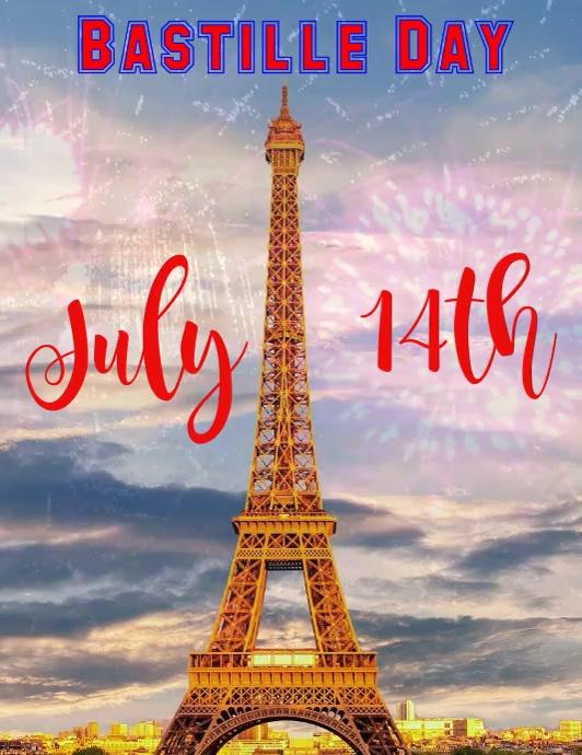 Bastille Day Fireworks Flyer (US Letter) template