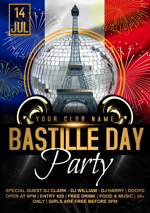 Bastille day fireworks A4 template