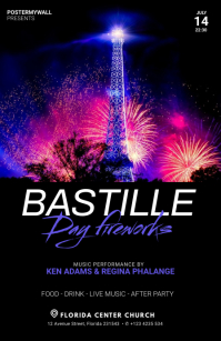 Bastille Day Fireworks flyer template Tabloid