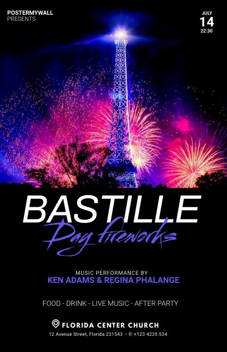 Bastille Day Fireworks flyer template Tabloid