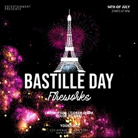 Bastille Day Fireworks Video Template Vierkant (1:1)