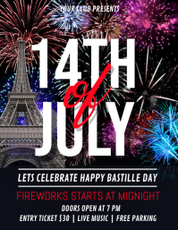 Bastille Day Flyer, Happy Bastille Day Рекламная листовка (US Letter) template