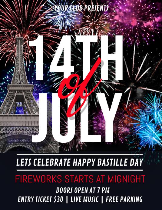 Bastille Day Flyer, Happy Bastille Day Iflaya (Incwadi ye-US) template