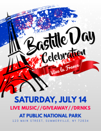 Bastille Day Flyer Рекламная листовка (US Letter) template