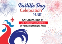 Bastille Day flyer Postcard template