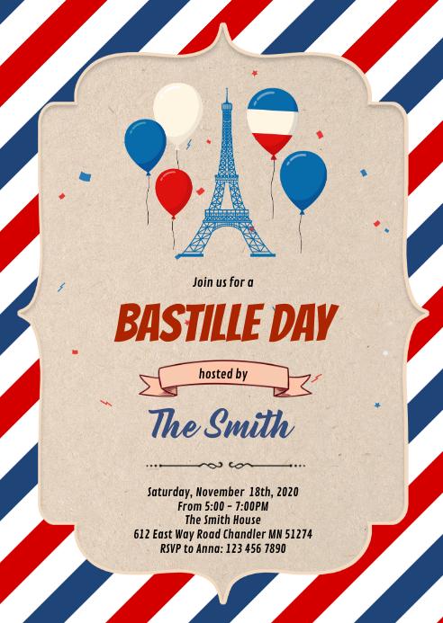 Bastille Day Flyer Template A6
