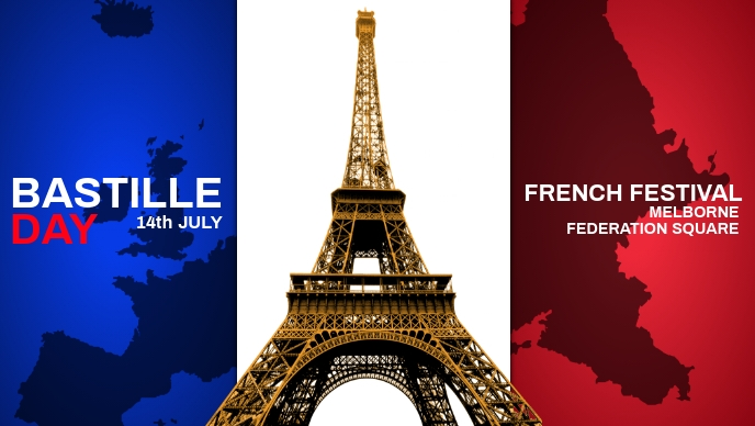 Bastille Day French Festival Template Facebook Cover Video (16:9)