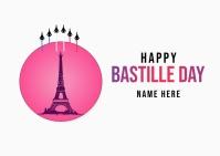 Bastille Day instaram postcard template