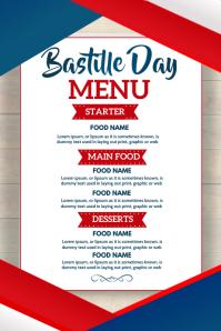 Bastille day menu, Menu Poster template