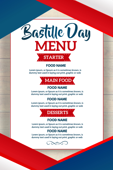 Bastille day menu, Menu 海报 template