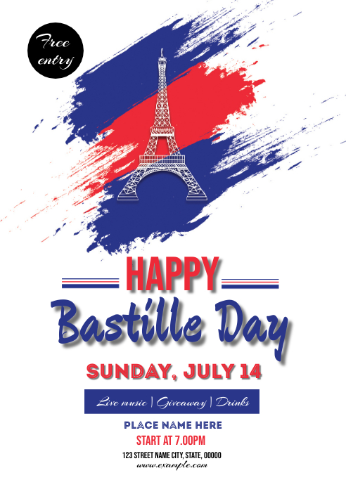 Bastille Day Party Flyer A6 template