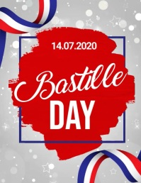 bastille day video, happy bastille day Рекламная листовка (US Letter) template