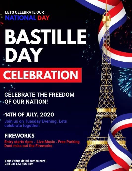 bastille day video, happy bastille day ใบปลิว (US Letter) template