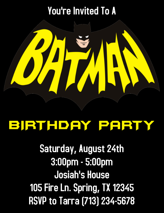 BATMAN BIRTHDAY PARTY INVITATION Template