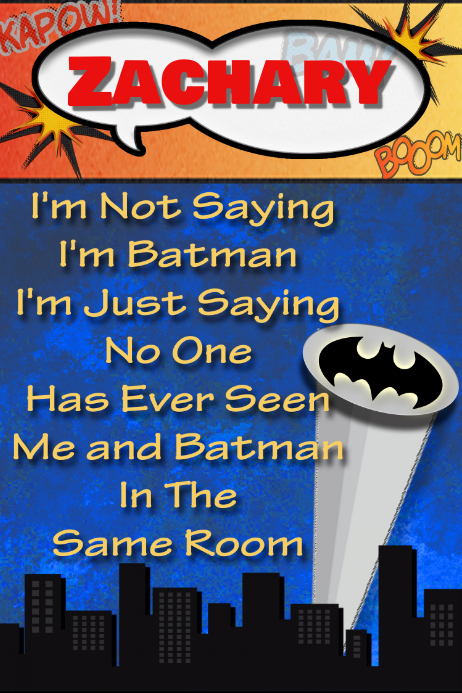 batman poster birthday party personalized gift superhero