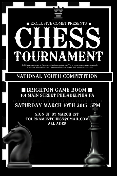 copy of chess tournament postermywall. Black Bedroom Furniture Sets. Home Design Ideas