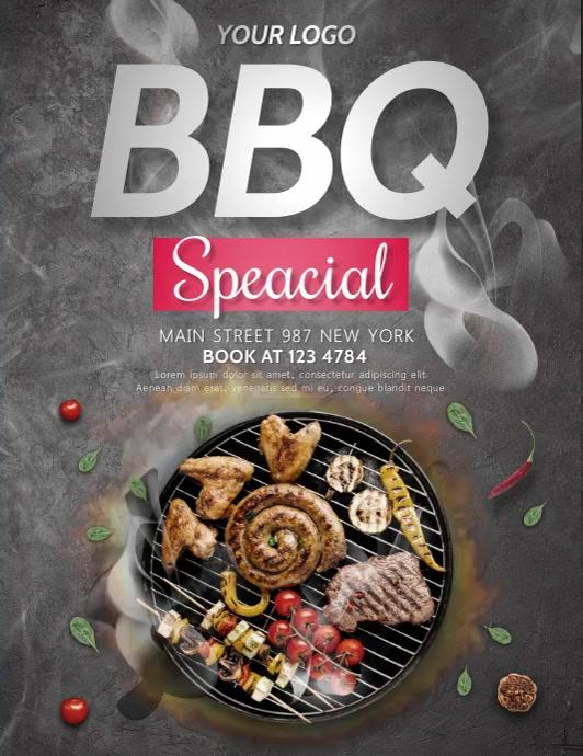BBQ, barbeque,restaurant Рекламная листовка (US Letter) template
