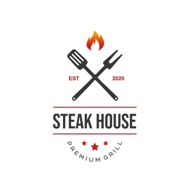 Bbq & Steakhouse Restaurant Logo template