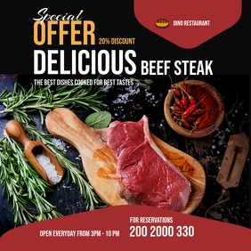 BBQ And Steak Restaurant Flyer