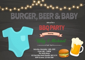 BBQ Baby Shower Invitation A6 template