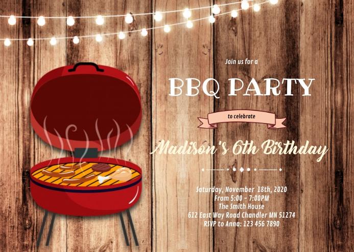 Bbq backyard 4th of July invitation A6 template