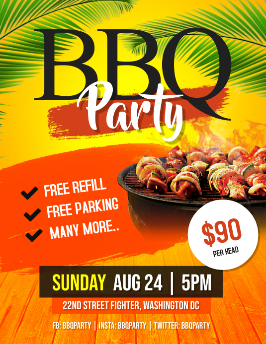 bbq barbeque party flyer template postermywall