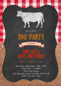 Bbq birthday party invitation