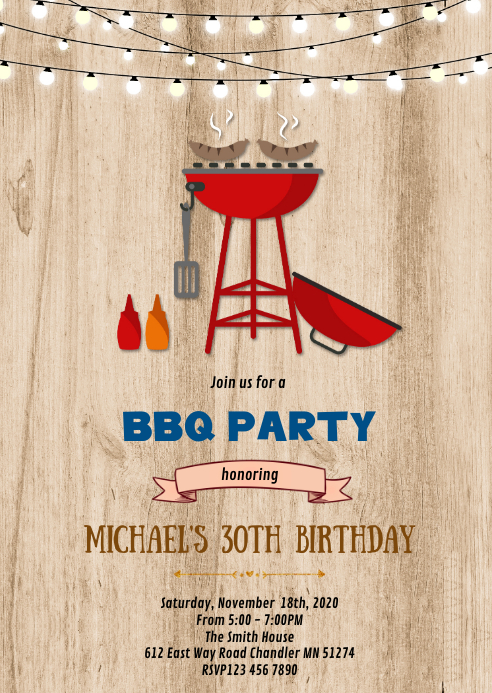 Bbq birthday party invitation A6 template