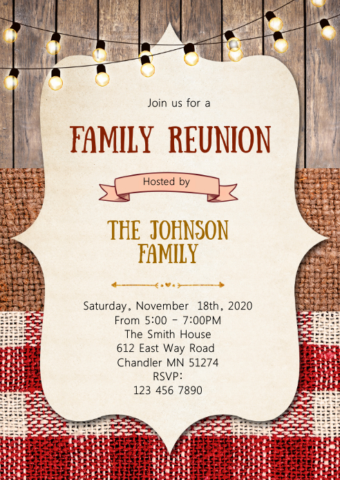 bbq family reunion party invitation A6 template