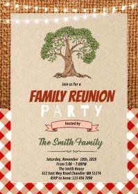 Bbq family reunion theme invitation A6 template