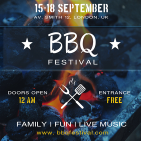 BBQ Festival Party Invitation Social Media Post Template