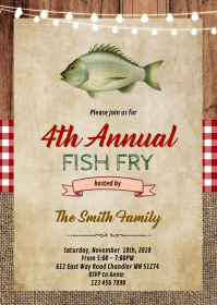 Bbq fish fry party invitation