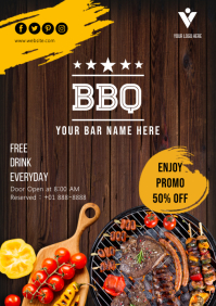 BBQ Flyer Template Design A4