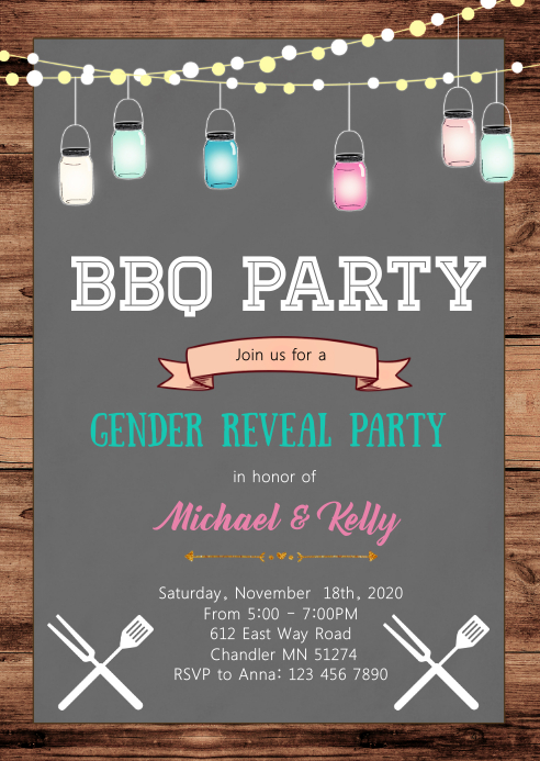 Bbq gender reveal party invitation